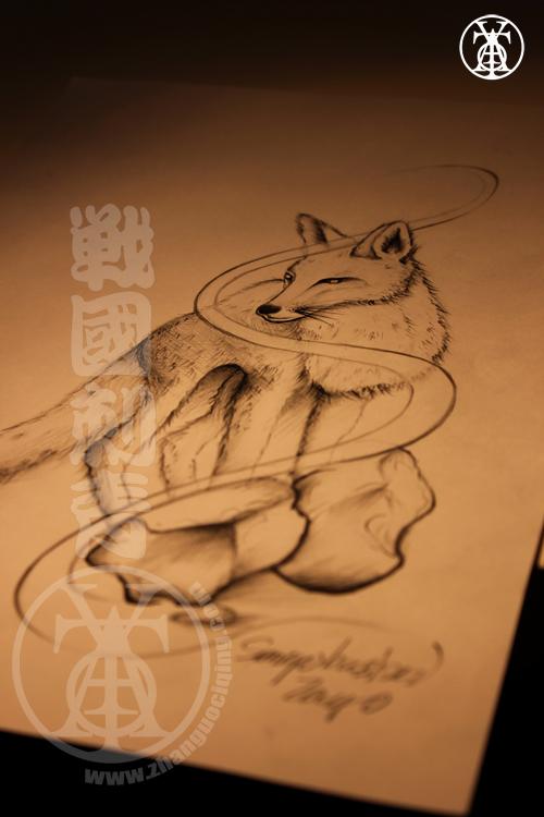 小纹身素材手稿狐狸分享展示